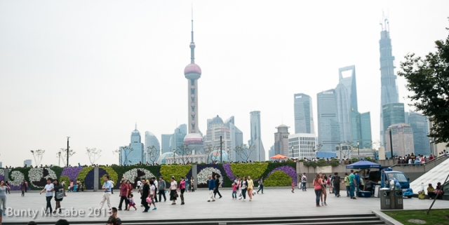 One of the major access points to the the embankment is also an excellent viewing point for Pudong and its most famous structure,  the Oriental Pearl Tower.