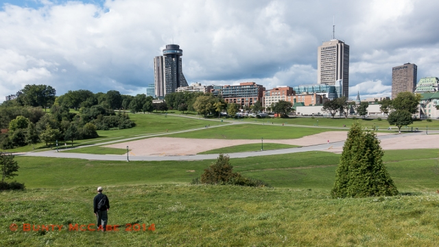 The Plains of Abraham and the city's modern hotels.