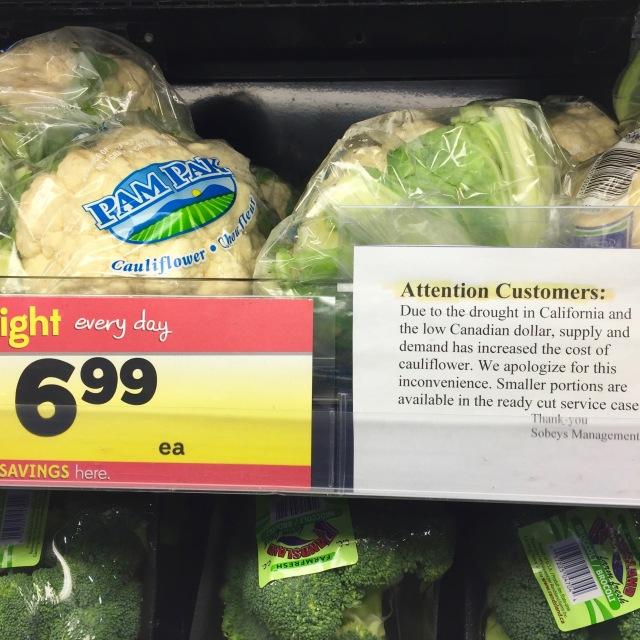 Regular cauliflower - only $6.99.